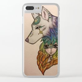 Wolf Girl Clear iPhone Case