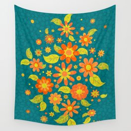 Daisy Spread - Gold to Red - on Teal (pattern) Wall Tapestry