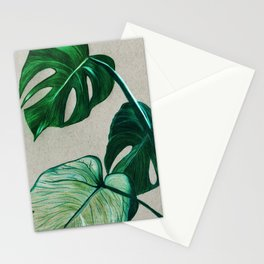 monsteras - coloured pencils Stationery Cards