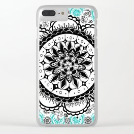 Teal and Black Mandala Pattern Clear iPhone Case