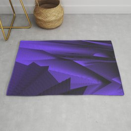Strange gentle landscap with stylised mountains, sea and blue Sun. Rug