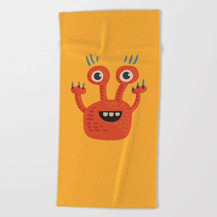 Funny Orange Happy Creature Beach Towel