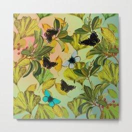 Vintage Ginkgo Leaves and Butterflies Metal Print