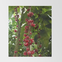 Red Flowers with Green leaf background Throw Blanket