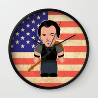 "springsteen Wall Clocks featuring The Boss by Michele ""Sonik"" Bruseghin"