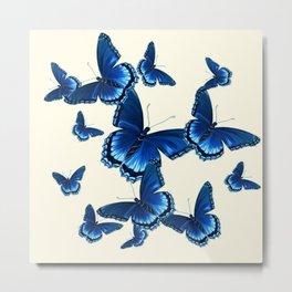 DECORATIVE PATTERNED BLUE  BUTTERFLY FLOCK Metal Print