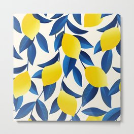 Yellow Limons and Blue Leaves Metal Print