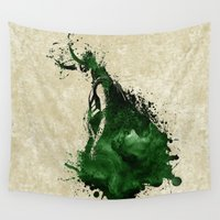 loki Wall Tapestries featuring Loki Watercolor by Maude Serex