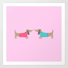 Cute dogs in love with dots in pink background Art Print