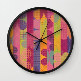 Abstract Colorful Floral Pattern Wall Clock
