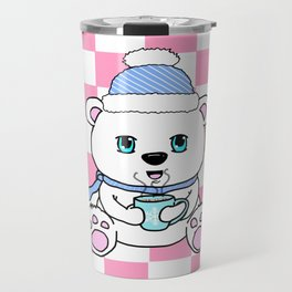 Polar Bear Drinking Hot Chocolate Travel Mug
