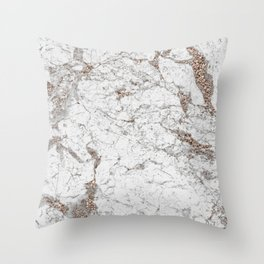 White frost - rose gold marble Throw Pillow