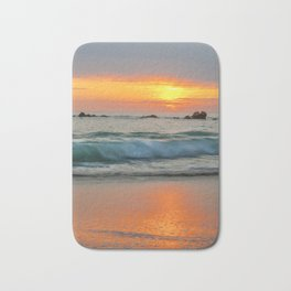 Golden sunset with turquoise waters Bath Mat