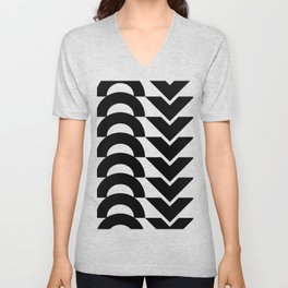 Black Arrows and Circles Graphic Art Unisex V-Neck