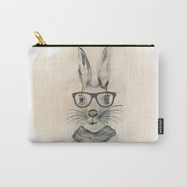 Cute funny watercolor bunny with glasses and scarf hand paint Carry-All Pouch