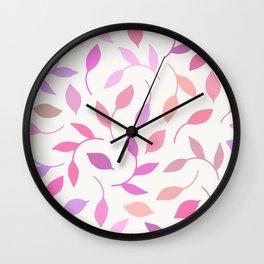 Pastel Leaf Pattern Wall Clock