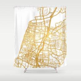 TEL AVIV ISRAEL CITY STREET MAP ART Shower Curtain