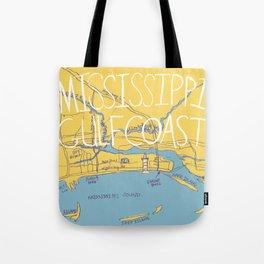 Mississippi Gulf Coast Map Tote Bag
