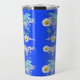 BLUE DRAGONFLIES REPEATING  DAISY FLOWERS  ART Travel Mug