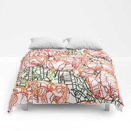 Tulip Garden #drawing #nature Comforters