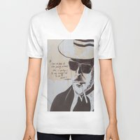 hunter s thompson V-neck T-shirts featuring Hunter S. Thompson by Emily Storvold