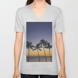 Palm Trees w/ Ombre Tropical Sunset - Hawaii Unisex V-Neck