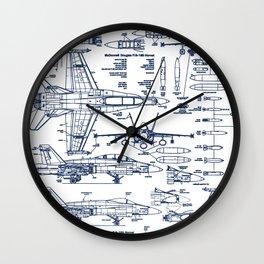 F-18 Blueprints // Blue Ink Wall Clock