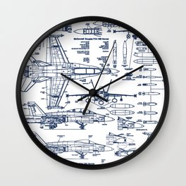F-18 Blueprints // Blue Ink Wall Clock