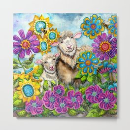 Sheep in the Summer Garden Metal Print
