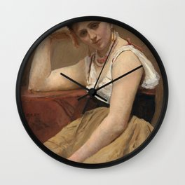 """Jean-Baptiste-Camille Corot """"Interrupted Reading"""" Wall Clock"""