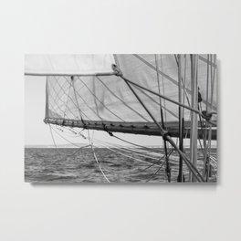 Black and white sail- Nautical photography - Classic sailing yacht Metal Print