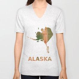 Alaska map outline Peru green streaked wash drawing illustration Unisex V-Neck