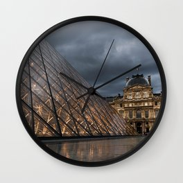 Louvre at Dusk Wall Clock