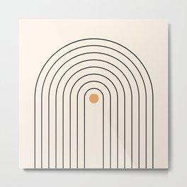 Mid Century Modern Geometric 37 ( Rainbow and Sun Abstraction) Metal Print
