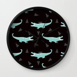 Postmodern Minty Crocodiles + Striped Triangles in Black Wall Clock