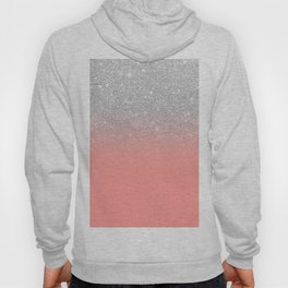 Modern chic coral pink silver glitter ombre gradient Hoody
