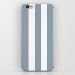 Cadet grey - solid color - white vertical lines pattern iPhone Skin