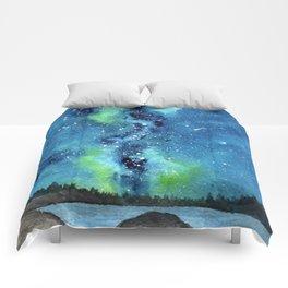 """Riverside Galaxy"" watercolor landscape painting Comforters"