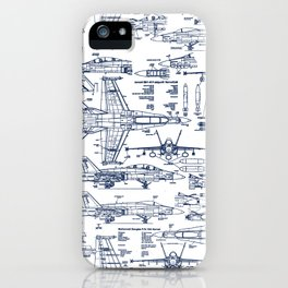 F-18 Blueprints // Blue Ink iPhone Case