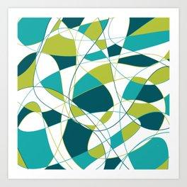 Modern Abstract Retro Green and Teal Art Art Print