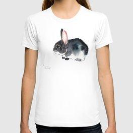 Bunny, Cute gray bunny Nursery Art children room watercolor bunny art T-shirt