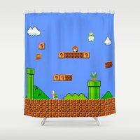 mario Shower Curtains featuring Mario by idaspark