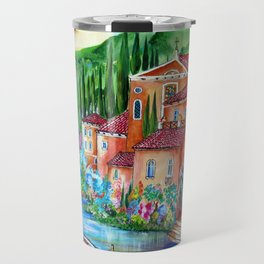 Via Positano Italian Village by the Lake in Tuscany Travel Mug