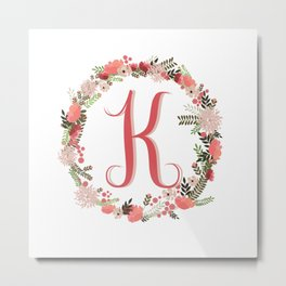 Personal monogram letter 'K' flower wreath Metal Print