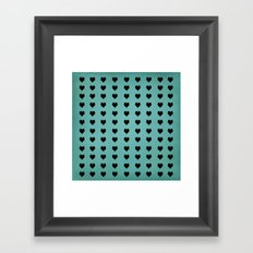 Rows Of Hearts (teal) Framed Art Print