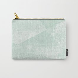 Mint Green and White Geometric Triangles Lino-Textured Print Carry-All Pouch