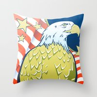 patriotic Throw Pillows featuring Patriotic Eagle by whiterabbitart