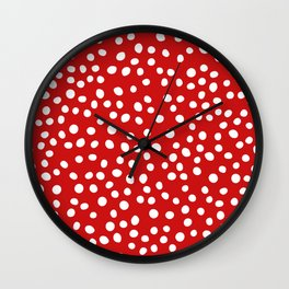 Red and white doodle dots Wall Clock