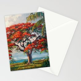Royal Poinciana Tropical Florida Keys Landscape by A.E. Backus Stationery Cards