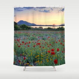 Red Poppies. Sunset at the lake Shower Curtain